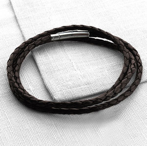 Mens Plaited Leather Wrap Bracelet