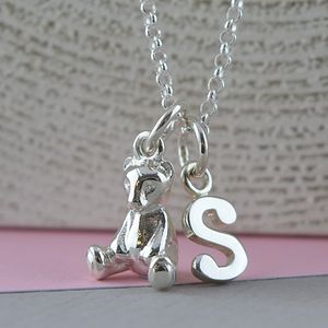 Teddy Bear Charm Necklace With Personalised Message - christening gifts