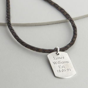 Men's Woven Leather And Brushed Silver Dog Tag Necklet - necklaces
