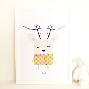 Deer Art Print 'Ila' - woodland nursery