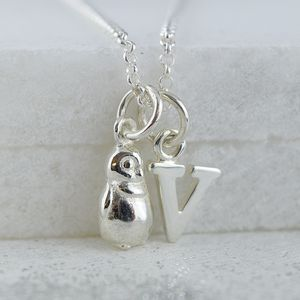 Penguin Charm Necklace With Personalised Message - necklaces & pendants
