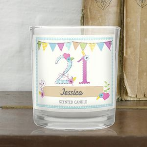 21st Birthday Scented Personalised Jar Candle