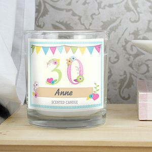 30th Birthday Scented Personalised Jar Candle