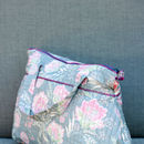 Tall Washbag With Handles In French Fleurs Grey