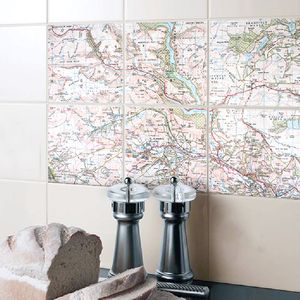 A Set Of Personalised Ceramic Map Tiles - bathroom