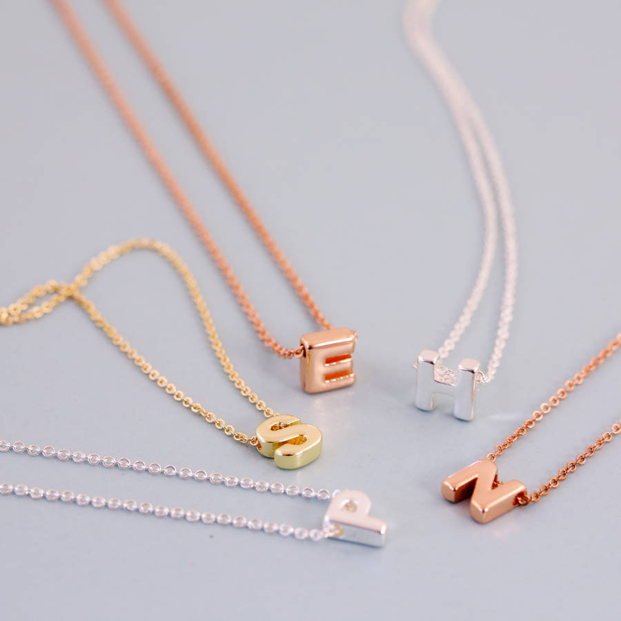 mini letter initial necklace by j s jewellery