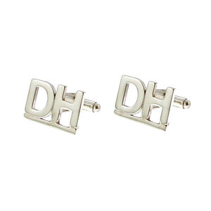Double Initial Silver Monogram Cufflinks - personalised jewellery