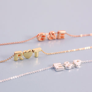 Triple Mini Letter Necklace - rose gold jewellery
