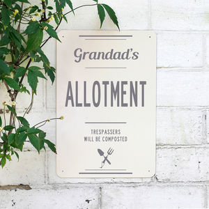 Personalised Metal Allotment Sign - personalised