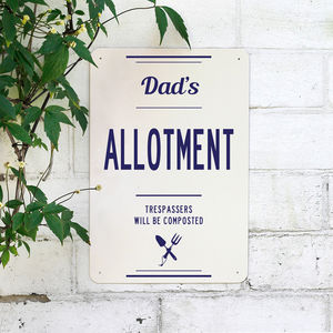 Personalised Dads Allotment Metal Sign - gifts for fathers