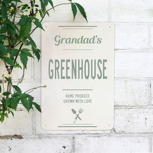 Personalised Grandads Greenhouse Metal Sign