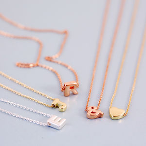 Mini Letter Initial Necklace - 30th birthday gifts