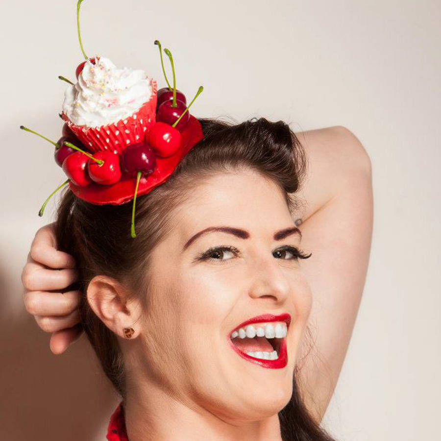 cherry cupcake fascinator by gg s pin-up couture ... 64609ddb54b3