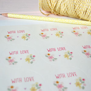 Set Of 15 Floral 'With Love' Stickers