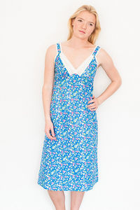 Nightie With Straps In Cobalt Isabel