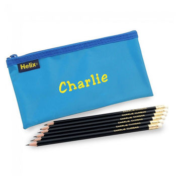 Personalised Pencil Case And Six Graphite Pencil Set