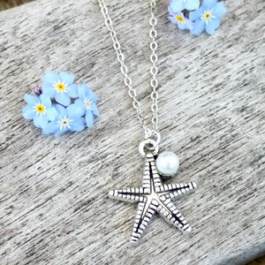Starfish And Pearl Charm Necklace