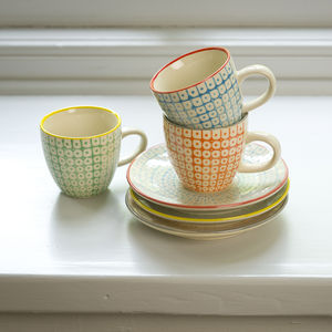 Set Of Three Espresso Cups And Saucers - mugs