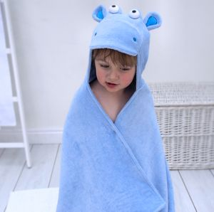Personalised Hippo Children's Hooded Towel