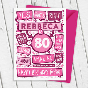 80th Thats Right Personalised Birthday Card Pink - birthday cards