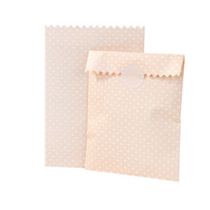 Peach Spotty Treat Bags And Stickers - favour bags, bottles & boxes