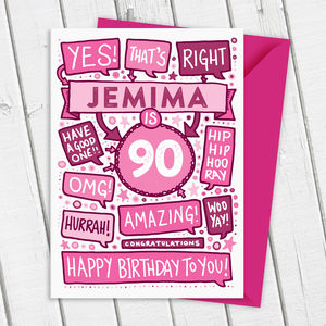 90th Thats Right Personalised Birthday Card Pink