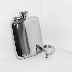 Polished Personalised Curved Hip Flask Free Engraving