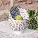 Set Of Three Purple And Lime Bowls