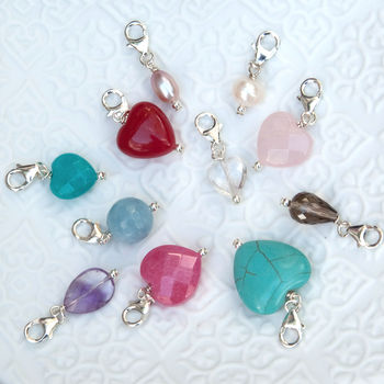Semi Precious Stone And Pearl Charms
