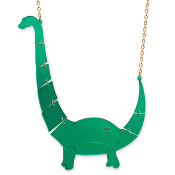 Mirrored Green Large Apatosaurus Dinosaur Necklace