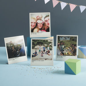 Personalised Metal Polaroid Prints, Set Of Four - prints & art