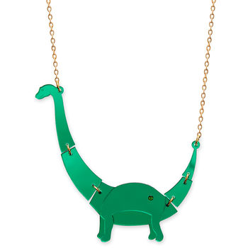 Mirrored Green Small Apatosaurus Dinosaur Necklace