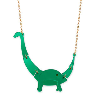 Mirrored Green Small Apatosaurus Dinosaur Necklace - necklaces & pendants