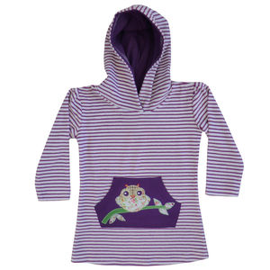Owl Towelling Hooded Top - clothing