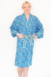 Bathrobe Kimono In Blue Floral Isabel Cobalt Print - bath robes