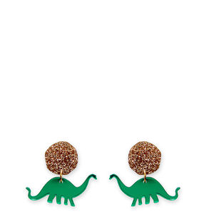 Mirrored And Glitter Apatosaurus Dinosaur Earrings - earrings