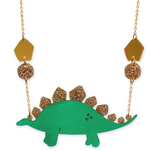 Mirrored And Glittered Stegosaurus Necklace - necklaces & pendants