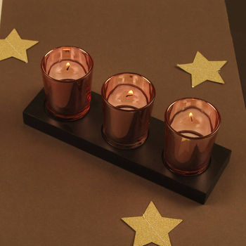 Three Copper Tea Light Holders Stand And Free Tealights