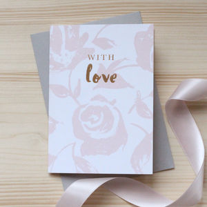 Pink Floral 'With Love' Gold Foil Notecard Set