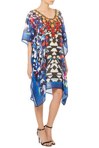 Black And Blue Printed Designer Kaftan - kaftans