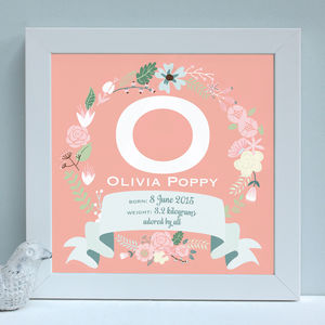 Personalised New Baby Framed Initial Print - pictures & prints for children