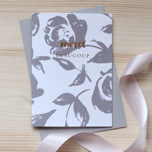 'Merci Beaucoup' Gold Foil Notecard Set