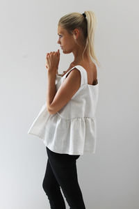 Was £54 Now £27 Cream Swirl Ruffle Hem Top