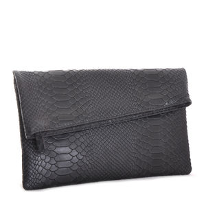 Black Textured Leather Envelope Clutch