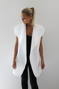 Neoprene Sleeveless Coat - women's fashion