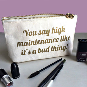 'High Maintenance' Canvas Makeup And Wash Bag - women's sale