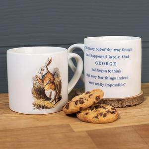 Personalised Alice In Wonderland 'White Rabbit' Mug - dining room