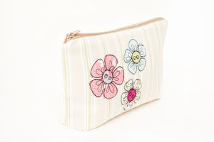 Embroidered Flower Make Up Bag - make-up bags