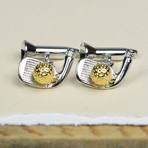 Golf Club And Tee Cufflinks
