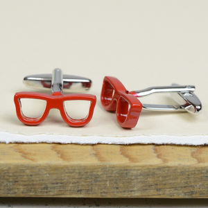 Red Spectacles Glasses Cufflinks